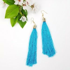 Jewelry - Teal Blue Tassle Fringe Earrings